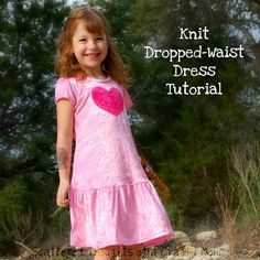 Scattered Thoughts of a Crafty Mom: Dropped-Waist Knit Dress Tutorial with Pattern