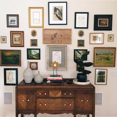 """""""A peek into our home. A big thank you to for doing this gallery installation for us. He's helped repair and frame so many pieces for us. Antique Sideboard, White Walls, Sweet Home, Things To Think About, Photo Wall, Interior Design, Frame, Instagram Posts, Beautiful"""