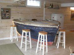 single family home built in Boat Furniture, Coastal Furniture, Furniture Projects, Home Projects, Bar Design, Design Studio, Outdoor Beach Decor, Cabin Crafts, Wooden Canoe