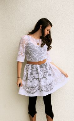 upcycled lace dress. Very pretty.