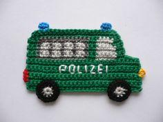 Gefängniswagen - Häkelapplikation von Spielkiste auf DaWanda.com