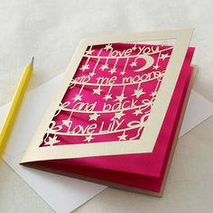 'to the moon and back' personalised card by pogofandango   notonthehighstreet.com
