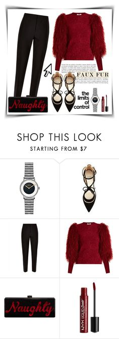 """Damn, I look good!"" by vladoslav ❤ liked on Polyvore featuring Gomelsky, Francesco Russo, Jaeger, Sonia Rykiel, Edie Parker, NYX, Pointer, black, red and suede"