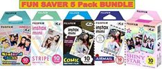 Fujifilm Instax Mini 5 Pack Bundle Includes Stained Glass Comic Stripe Shiny Star Airmail 10 sheets X 5 Pack  50 Sheets >>> Click image to review more details.