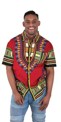 Traditional African Short Sleeved Dress Shirt - African style traditional fashion for men.  Celebrate Africa and African heritage with this traditional African shirt for men.  Perfect as a gift for the Africa lover in your life!  #africa #style #africanfashion #mensfashion #africanmen #africanmensfashion #fashion #fashionableman #menswear #mensstyle