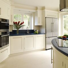 Painted kitchen with American fridge freezer   Kitchen   PHOTO GALLERY   Beautiful Kitchens   Housetohome.co.uk