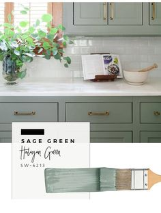 Our top color palette trends spring 2017 - sage green kitchen cabinet paint colors Green Kitchen Cabinets, Kitchen Cabinet Colors, Kitchen Redo, New Kitchen, Kitchen Interior, Oak Cabinets, Vintage Kitchen, Sage Green Kitchen, Green Kitchen Paint