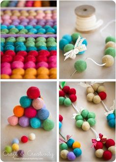 Tiny wool bead wreath - by Craft & Creativity Pom Pom Crafts, Felt Crafts, Fabric Crafts, Diy And Crafts, Crafts For Kids, Retro Christmas Decorations, Felt Christmas Ornaments, Christmas Crafts, Xmas
