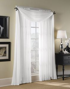 2pc White Sheer Panel Curtain 1pair Elegant Soft by HomeLinens, $6.00