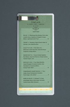 The Sinclair Drink Menu / menu design, layered paper, graphic design, print design Drink Menu Design, Restaurant Menu Design, Restaurant Branding, Antipasto, Newsletter Layout, Catering, Menu Layout, Menu Holders, Menu Boards