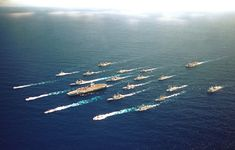 """The Boat"": aircraft carrier fleet. Carrier in the middle, with all of the support fleet around it."