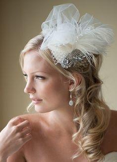 Bridal Fascinator, Bridal Hat, Feather Wedding Hair Accessory, Ivory Feather Head Piece - TRISTA