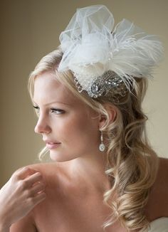 Bridal Fascinator, Bridal Hat, Feather Wedding Hair Accessory, Ivory Feather Head Piece - TRISTA