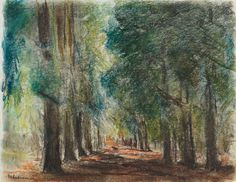 Max Liebermann (German, 1847-1935), Alley in Sakrow, 1924, Pastel on paper