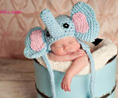 elephant crochet hat free pattern. Newborn-3 months (fits up to 14 inch)