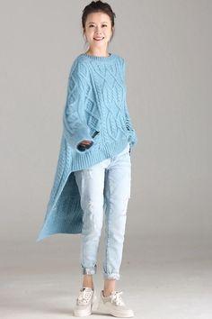Womens Fashion - Blue Casual Long Sweater Women Warm Fall And Winter Tops Knitwear Fashion, Knit Fashion, Knitting Designs, Knitting Patterns, Mode Ab 50, Long Sweaters For Women, Winter Tops, Warm Autumn, Fashion Mode