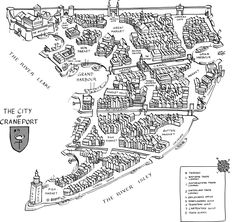The City of Craneport Fantasy Map Making, Fantasy City Map, Fantasy Castle, Medieval Fantasy, Village Map, Rpg Map, Building Map, Writing Fantasy, Dungeons And Dragons Homebrew