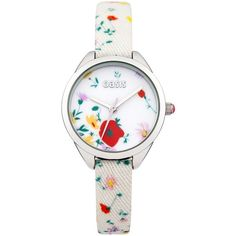 Oasis Ladies Strap Watch ($35) ❤ liked on Polyvore featuring jewelry, watches, floral watches, heart shaped watches, heart jewelry, heart watches and lipsy