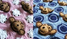 Two Email Crochet Baby Blanket PDF PATTERNS - Baby Girl AND Baby Boy Feel and Learn Monkey Blankets or Stroller Blankies, Crochet Patterns. $7.00, via Etsy.