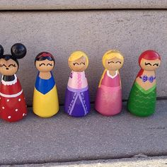 LOVE these adorable Disney Princess Peg Dolls by RylieRene Etsy Shop!!!!  My daughters carry these around all the time. Ariel, Sleeping Beauty, Snow White, Rapunzel, Mickey Mouse, Jasmine, Tinker Bell, Belle, Anna, Elsa, Cinderella, Tiana Peg Dolls.