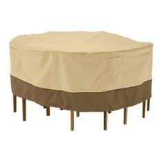Classic Accessories Veranda Patio Table & Chair Set Cover, Pebble, Round