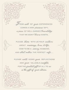 While it's more than likely that your guests have signed a guest book before, this printable poem is a cute way to remind them to leave some well wishes behind.