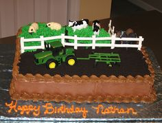 Tractor Farm Cake -- add rainbow smarties up the side