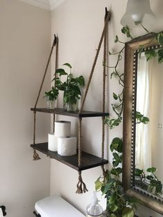 Wood and Rope Hanging Shelves in Expresso Stain- Bathroom Shelves- Small Bathroom Storage- Entry Way Shelves- Living Room Shelves - Home and Garden Decoration Living Room Shelves, Living Room Decor, White Wash Stain, Diy Hanging Shelves, Rope Shelves, Glass Shelves, Storage Shelves, Hanging Rope, Small Shelves