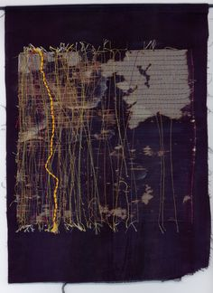 Beth Charles. Journey into Night series, 'Yellow Brick Road'. Stitched work: cotton, silk and metallic thread on fabric. Hung on wooden rod.