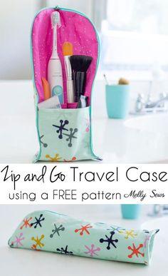 DIY Zip y Go Travel Case - Coser un rodillo de cremallera permanente para sus viajes Esenciales - Melly Sews