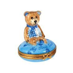 Teddy Bear My First Tooth Box Blue Limoges Box.