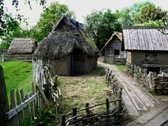 """""""Reconstructed"""" Viking settlement from around 900 AD, complete with wooden railway sleepers."""