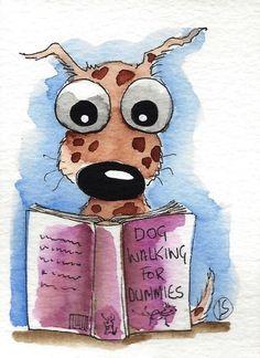 ACEO Original watercolor whimsical animal painting art puppy dog walking book #Folkartillustration
