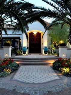Front Door Lighting, Front Door Landscaping Front Yard Landscaping Exteriors by Chad Robert, Inc. Spanish Style Homes, Spanish House, Entrance Design, House Entrance, Door Design, Driveway Entrance, Yard Design, Front Design, Tile Design