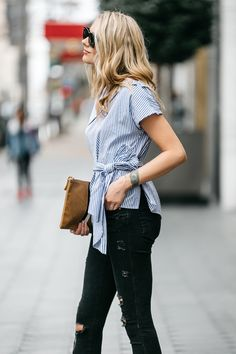 Fashion Jackson, Dallas Blogger, Street Style, Blue & White Stripe Off-the-Shoulder Top, Black Ripped Skinny Jeans, Clare V Stripe Flat Clutch