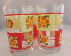 Vintage Daffodil Juice Glasses Made In Indonesia Set of 3