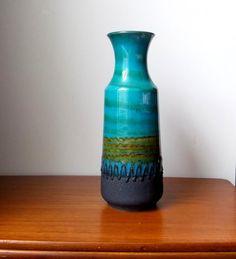 "Fat Lava Vase 12"" West German Pottery Ceramic Carstens Tonnieshof Mid Century Modern 1960s Boho Bohemian B;lues Green Yellow"