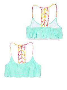 Ladder-back Flounce Top - PINK - Victoria's Secret $39.50 #bestseller Cute Bikinis, Cute Swimsuits, Summer Bikinis, Summer Bathing Suits, Cute Bathing Suits, Bathing Suit Top, Swim Top, Pink Swimsuit, Swimsuit Tops