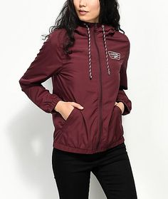 $64.95 - Vans Kastle MTE Burgundy Windbreaker Jacket