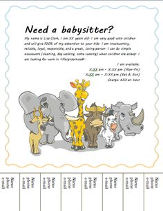 babysitting flyers template