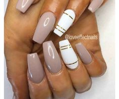 Nails for fall 50 COFFIN NAIL ART DESIGNS Glossy White and Nude Gold Coffin Nails. This simple glossy nail art design for the coffin nails is what you need to have. Gold Coffin Nails, Nude Nails, My Nails, Coffin Nails 2018, Acrylic Nails Nude, White Nails With Gold, Beige Nails, Coffin Acrylics, Stiletto Nail Art