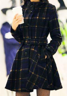 Plaid Faux Wool Coat #coat #winter #plaid