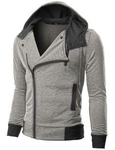 #Mens fashion Mens Casual Rider Hoodie Jacket (KMH02:DOUBLJU)