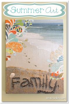 I love this Tutorial to make Summer Art a DIY Wall Art with Canvas. Crafts like this are fun and add to my seasonal home decor. Love the texture using sand adds!