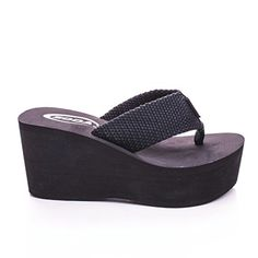 Soda Womens Sandals Wedge EVA Platform Heels Flip Flops Black White OXLEY-S (Black 9) $12.99
