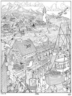 Doodle Art Seascape Coloring Page Poster B * Doodle Coloring pages colouring… Coloring Pages For Grown Ups, Coloring Book Pages, Printable Coloring Pages, Colouring Pics, Doodle Coloring, Colorful Drawings, Colorful Pictures, Doodle Art Posters, Tachisme