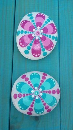 Happy hippie flower handpainted stones