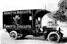 """Arnott's motor-waggon for delivering their biscuits.The waggon is a """"Swiftsure"""" of 22-horse power,fitted with a four-cylinder Aster engine,with magneto and accumulator ignition,the two systems being entirely separate.It is fitted with heavy,solid tyres and a chain drive.The chassis i.e. the frame of the waggon,was Imported but the body was made locally by Mr. C. J. Pittman from Redfern.    🍪🚚"""