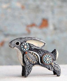 Rabbit Miniature Figurine Hare Sculpture Easter Bunny Animal Totem Fantasy Creature Totembykarhu