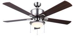 """LED BRAE 52"""" Ceiling Fan in brushed nickel  CF52BRA5BN"""